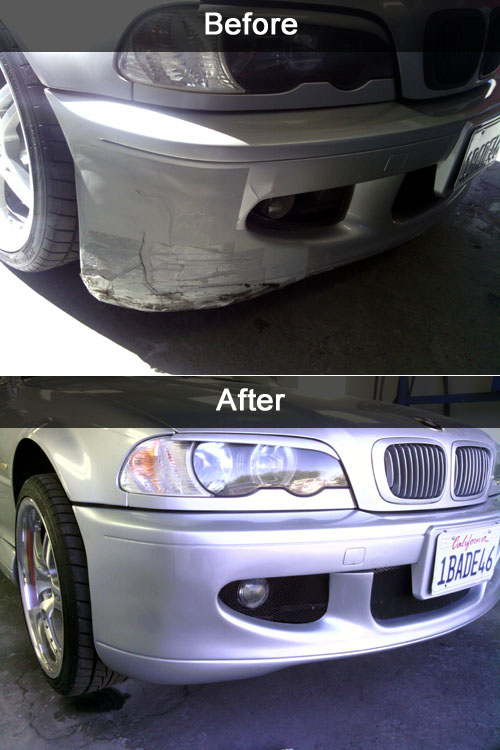 car bumper repair before and after