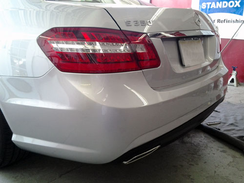 white mercedes bumper repair after